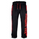 Men's New Fashion Letter HUMMER USA Printed Contrast Stripe Side Loose Fit Casual Running Sweatpants
