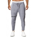 Men's New Fashion Solid Color Fake Pocket Zipper Embellished Drawstring Waist Slim Fit Cotton Sweatpants