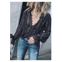 Trendy Tribal Printed Sexy V-Neck Long Sleeve Casual Loose Black Blouse Top