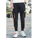 Men's Street Style Letter Printed Colorblocked Tape Patched Flap Pocket Side Drawstring Waist Casual Cargo Pants
