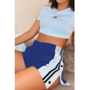 New Fashion Colorblocked Side Button Closure Sport Running Shorts for Women