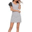Summer New Trendy White Polka Dot Print Flutter Sleeve Mini A-Line Dress