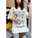Hot Popular Cartoon Figure Letter DON'T BELIEVE ME Printed Oversized T-Shirt