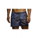 Men's Casual Fashion Camouflage Pattern Cotton Drawstring Waist Sport Beach Shorts Swim Trunks with Side Tape