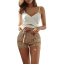 British Style Plaid Printed Tied Waist Straight Fit Shorts