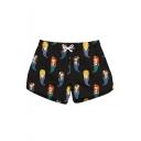 Womens Funny Cartoon Mermaid Printed Drawstring Waist Quick Dry Black Beach Shorts