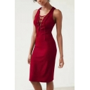 Womens New Stylish Simple Plain Lace-Up V-Neck Sleeveless Midi Sheath Dress