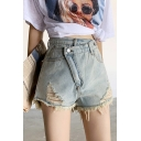 Summer Girls Fashion Distressed Ripped Frayed Hem High Rise Crossover Denim Shorts