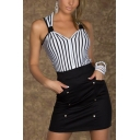Womens New Stylish Striped Patchwork V-Neck Sleeveless Mini Bodycon Nightclub Dress