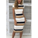 Womens Trendy Retro Striped Printed Mock Neck Short Sleeve Midi Fitted Pencil Dress