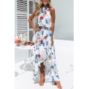Womens Summer Holiday Fashion Floral Printed Sleeveless Split Front Maxi Beach Dress