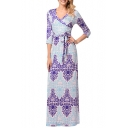 Womens Fancy Floral Pattern Surplice V-Neck Three-Quarter Sleeve Maxi Sheath Wrap Dress