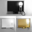 Black/Gold/White Bare Bulb Light with Supporter Simple Style Metal Wall Lamp for Bedroom
