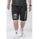 Men's Summer New Trendy Letter BAD BOY Figure Printed Drawstring Waist Black Sports Shorts