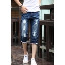 Men's Summer Fashion Retro Washed Rolled Cuffs Blue Ripped Denim Shorts