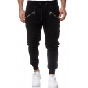 Men's Stylish Solid Color Double Zipper Embellished Knee Pleated Detail Black Sports Pencil Pants