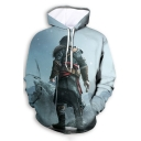 Light Blue Popular 3D Game Figure Pattern Long Sleeve Sport Loose Pullover Hoodie