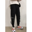 Men's Casual Fashion Letter Printed Flap Pocket Side Buckle Strap Design Cargo Pants