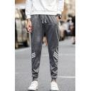 Men's Classic Fashion Three Bars Stripe Pattern Drawstring Waist Casual Joggers Sweatpants