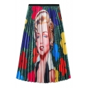 Womens Fashion Figure Portrait Printed High Waist Maxi A-Line Pleated Skirt