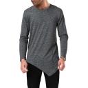 Mens Simple Plain Round Neck Long Sleeve Asymmetrical T-Shirt