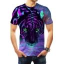 Unique Purple Galaxy Tiger Print Basic Short Sleeve Unisex Tee