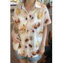 Girls Summer Funny Fruit Print Short Sleeve White Button Down Shirt