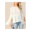 Womens Simple Plain Round Neck Split Bell Long Sleeve Pleated White Chiffon Blouse Top