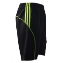 Men's Summer Stylish Contrast Stripes Pattern Elastic Waist Running Athletic Shorts