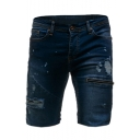 Men's Summer New Fashion Plain Washed Zip Embellished Frayed Ripped Denim Shorts