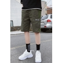 Men's Summer Trendy Letter Printed Flap Pocket Side Casual Cotton Cargo Shorts