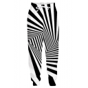Trendy Creative 3D Black and White Stripe Printed Drawstring Waist Casual Sports Joggers Sweatpants