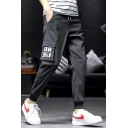 Men's Street Style Fashion Letter Printed Flap Pocket Side Drawstring Waist Casual Cotton Cargo Pants