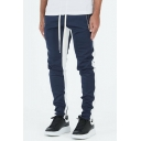 Men's New Stylish Colorblock Patched Zipped Pocket Drawstring Waist Casual Cotton Sweatpants Sports Pencil Pants