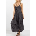 Trendy Fancy Sexy V-Neck Stripped Spaghetti Straps Sleeveless Tie-Back Loose Jumpsuits for Girls