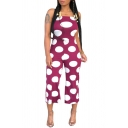 Womens Classic Polka Dot Printed Sexy Straps Sleeveless Wide Leg Casual Jumpsuits