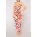 Womens Sexy Fashion Pink Camo Printed Spaghetti Straps Sleeveless Skinny Fit Jumpsuits