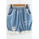 Girls Summer Cute Cartoon Letter WHERE IS THE CAT Elastic Waist Patched Hem Loose Light Blue Denim Shorts