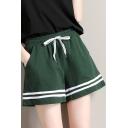 Girls Summer Drawcord Waist Striped Hem Running Sport Loose Shorts