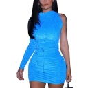 Womens Hot Popular Sexy One Shoulder Long Sleeve Drawstring Ruched Mini Bodycon Dress