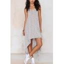 Womens Fashion Simple Plain V-Neck Sleeveless Asymmetrical Grey Tank Dress