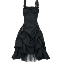 Vintage Medieval Gothic Style Lace-Up Corset Waist Sleeveless Midi Fit and Flared Dress