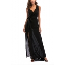 Womens Fancy Simple Plain V-Neck Sleeveless Tied Waist Split Side Chiffon Maxi Dress