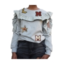 Womens Unique Design Letter Patched Stringy Selvedge Long Sleeve Pullover Sweatshirt