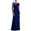 Summer Hot Sexy Sheer Lace Patchwork Half Sleeves Round Neck Classic Maxi Dresses for Party