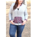 Womens New Fashion Floral Patched Long Sleeve Zip Up Fitted Grey Hoodie