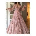 Sweet Hot Stylish High Waist Long Sleeves Sequin Embellished Ruffle Trim Plunge V Neck Princess Swing Dress
