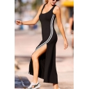 Summer Fashion Active Black Scoop Neck Sleeveless Split Striped Side Maxi Bodycon Tank Dress
