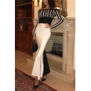 Womens Hot Popular Sexy Striped Print Off Shoulder Long Sleeve Gather Waist Fishtail Hem Maxi Fitted Dress