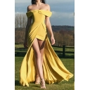 Womens Hot Stylish Off Shoulder Yellow High Waist Strapless Elegant Evening Dress